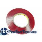 Скотч двусторонний прозрачный 3M с красной защитной лентой толщина 1мм ширина 5мм 10м