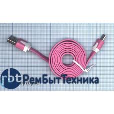 Плоский кабель Color USB-microUSB 1.0m USB-2.0 Pink (Розовый)
