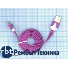Плоский кабель Color USB-microUSB 1.0m USB-2.0 Purple (Фиолетовый)