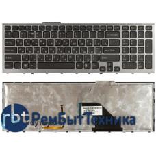 Клавиатура для ноутбука Sony Vaio VPC-F11 VPC-F12 VPC-F13 черная с серой рамкой, с подсветкой